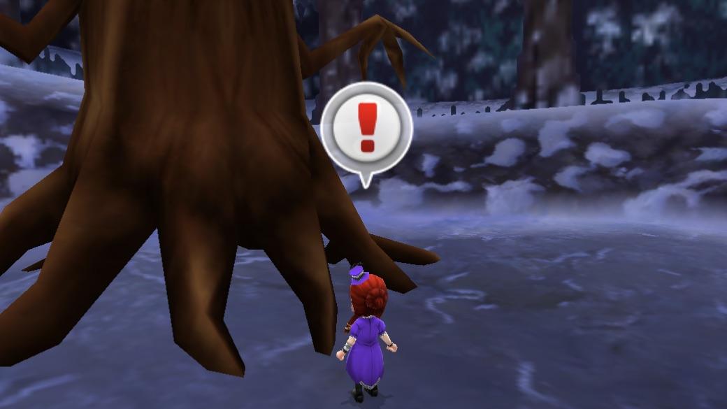 まよいの森の木の前でアクションアイコンを押す